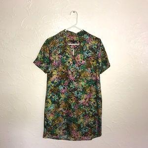Silk Shirtdress in Technicolor Floral